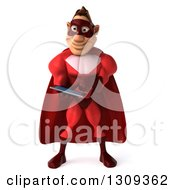 Clipart Of A 3d Caucasian Red Super Hero Man Using A Tablet Royalty Free Illustration by Julos