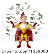 Clipart Of A 3d Muscular Male Yellow And Red Super Hero Making It Rain Money Royalty Free Illustration
