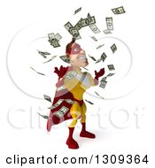 Clipart Of A 3d Muscular Male Yellow And Red Super Hero Facing Right And Making It Rain Money Royalty Free Illustration