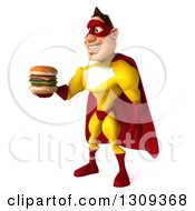 Clipart Of A 3d Muscular Male Yellow And Red Super Hero Facing Left And Holding Out A Double Cheeseburger Royalty Free Illustration