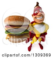 Clipart Of A 3d Muscular Male Yellow And Red Super Hero Holding Up A Double Cheeseburger Royalty Free Illustration