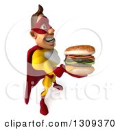 Clipart Of A 3d Muscular Male Yellow And Red Super Hero Facing Right And Holding Up A Double Cheeseburger Royalty Free Illustration