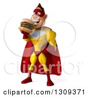 Clipart Of A 3d Muscular Male Yellow And Red Super Hero Facing Slightly Left And Eating A Double Cheeseburger Royalty Free Illustration