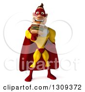 Clipart Of A 3d Muscular Male Yellow And Red Super Hero Holding A Double Cheeseburger Royalty Free Illustration