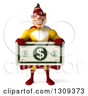 Clipart Of A 3d Muscular Male Yellow And Red Super Hero Holding A Giant Dollar Bill Royalty Free Illustration