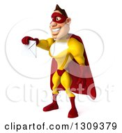 Clipart Of A 3d Muscular Male Yellow And Red Super Hero Facing Left And Holding Out An Envelope Royalty Free Illustration