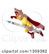 Clipart Of A 3d Muscular Male Yellow And Red Super Hero Smiling And Flying Left With A Vaccine Syringe Royalty Free Illustration