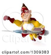 Clipart Of A 3d Muscular Male Yellow And Red Super Hero Flying Slightly To The Left With A Vaccine Syringe Royalty Free Illustration