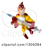 Clipart Of A 3d Muscular Male Yellow And Red Super Hero Flying With A Vaccine Syringe Royalty Free Illustration