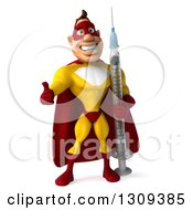 Clipart Of A 3d Muscular Male Yellow And Red Super Hero Giving A Thumb Up And Holding A Giant Vaccine Syringe Royalty Free Illustration