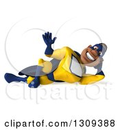 Clipart Of A 3d Muscular Black Male Super Hero In A Yellow And Blue Suit Resting On His Side And Waving Royalty Free Illustration
