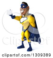 Clipart Of A 3d Muscular Black Male Super Hero In A Yellow And Blue Suit Facing Left And Holding Out A Business Card Royalty Free Illustration