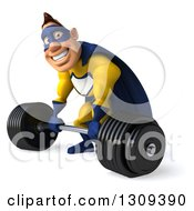Clipart Of A 3d Muscular White Male Super Hero In A Yellow And Blue Suit Facing Slightly Left And Picking Up A Heavy Barbell Royalty Free Illustration