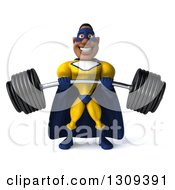 Clipart Of A 3d Muscular Black Male Super Hero In A Yellow And Blue Suit Lifting A Heavy Barbell Royalty Free Illustration