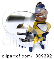 Clipart Of A 3d Muscular Black Male Super Hero In A Yellow And Blue Suit Holding Up A Euro Symbol Royalty Free Illustration