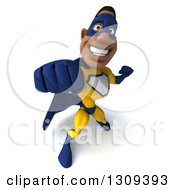 Clipart Of A 3d Muscular Black Male Super Hero In A Yellow And Blue Suit Punching Upwards Royalty Free Illustration