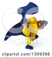 Clipart Of A 3d Muscular Black Male Super Hero In A Yellow And Blue Suit Kicking Royalty Free Illustration