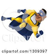 Clipart Of A 3d Muscular Black Male Super Hero In A Yellow And Blue Suit Side Kicking To The Left Royalty Free Illustration