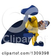 Clipart Of A 3d Muscular Black Male Super Hero In A Yellow And Blue Suit Kicking Or Looking Down Royalty Free Illustration