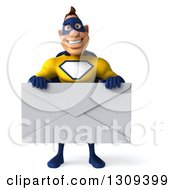 Clipart Of A 3d Muscular White Male Super Hero In A Yellow And Blue Suit Holding A Giant Envelope Royalty Free Illustration