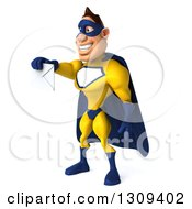 Clipart Of A 3d Muscular White Male Super Hero In A Yellow And Blue Suit Facing Left And Holding Out An Envelope Royalty Free Illustration