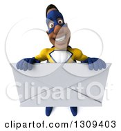 Clipart Of A 3d Muscular Black Male Super Hero In A Yellow And Blue Suit Holding Up A Giant Envelope Royalty Free Illustration
