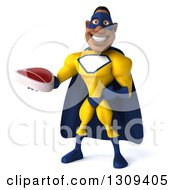Clipart Of A 3d Muscular Black Male Super Hero In A Yellow And Blue Suit Holding A Beef Steak Royalty Free Illustration