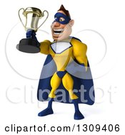 Clipart Of A 3d Muscular White Male Super Hero In A Yellow And Blue Suit Facing Slightly Left And Holding Up A Trophy Royalty Free Illustration