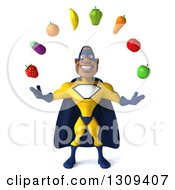 Clipart Of A 3d Muscular Black Male Super Hero In A Yellow And Blue Suit Juggling Produce Royalty Free Illustration