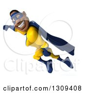 Clipart Of A 3d Muscular Black Male Super Hero In A Yellow And Blue Suit Smiling And Flying To The Left Royalty Free Illustration