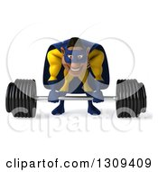 Clipart Of A 3d Muscular Black Male Super Hero In A Yellow And Blue Suit Working Out Bending Over To Pick Up A Heavy Barbell Royalty Free Illustration