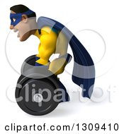 Clipart Of A 3d Muscular Black Male Super Hero In A Yellow And Blue Suit Facing Left Working Out Bending Over To Pick Up A Heavy Barbell Royalty Free Illustration