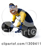 Clipart Of A 3d Muscular Black Male Super Hero In A Yellow And Blue Suit Working Out Facing Slightly Left Smiling And Bending Over To Pick Up A Heavy Barbell Royalty Free Illustration