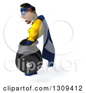 Clipart Of A 3d Muscular Black Male Super Hero In A Yellow And Blue Suit Working Out Facing Left And Picking Up A Heavy Barbell Royalty Free Illustration