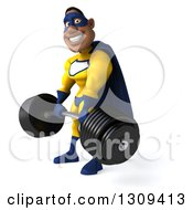 Clipart Of A 3d Muscular Black Male Super Hero In A Yellow And Blue Suit Working Out Facing Slightly Left And Picking Up A Heavy Barbell Royalty Free Illustration