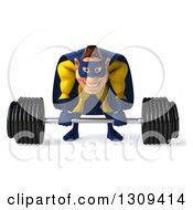 Clipart Of A 3d Muscular White Male Super Hero In A Yellow And Blue Suit Bending Over And Picking Up A Barbell Royalty Free Illustration