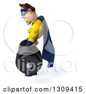 Clipart Of A 3d Muscular White Male Super Hero In A Yellow And Blue Suit Facing Left And Lifting A Barbell Royalty Free Illustration