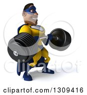 Clipart Of A 3d Muscular Black Male Super Hero In A Yellow And Blue Suit Working Out Facing Slightly Right And Lifting A Heavy Barbell Royalty Free Illustration
