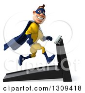 Clipart Of A 3d Muscular White Male Super Hero In A Yellow And Blue Suit Smiling Facing Right And Running On A Treadmill Royalty Free Illustration