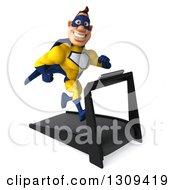 Clipart Of A 3d Muscular White Male Super Hero In A Yellow And Blue Suit Smiling Facing Slightly Right And Running On A Treadmill Royalty Free Illustration