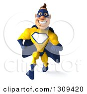 Clipart Of A 3d Muscular White Male Super Hero In A Yellow And Blue Suit Sprinting Royalty Free Illustration
