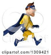 Clipart Of A 3d Muscular White Male Super Hero In A Yellow And Blue Suit Sprinting To The Right Royalty Free Illustration