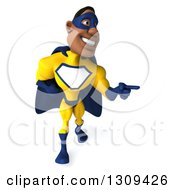 Clipart Of A 3d Muscular Black Male Super Hero In A Yellow And Blue Suit Walking And Pointing To The Right Royalty Free Illustration