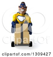 Clipart Of A 3d Muscular Black Male Super Hero In A Yellow And Blue Suit Moving Boxes On A Dolly Royalty Free Illustration by Julos