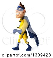 Clipart Of A 3d Muscular White Male Super Hero In A Yellow And Blue Suit Walking To The Left Royalty Free Illustration