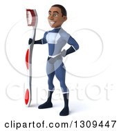 Clipart Of A 3d Young Black Male Super Hero Dark Blue Suit Facing Slightly Left And Holidng A Giant Toothbrush Royalty Free Illustration