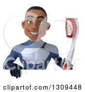 Clipart Of A 3d Young Black Male Super Hero Dark Blue Suit Holding A Giant Toothbrush Over A Sign Royalty Free Illustration
