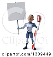 Clipart Of A 3d Young Black Male Super Hero Dark Blue Suit Holding A Blank Sign And A Giant Toothbrush Royalty Free Illustration