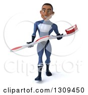 Clipart Of A 3d Young Black Male Super Hero Dark Blue Suit Walking With A Giant Toothbrush Royalty Free Illustration