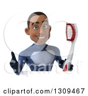 Clipart Of A 3d Young Black Male Super Hero Dark Blue Suit Holding A Thumb Up And Giant Toothbrush Over A Sign Royalty Free Illustration